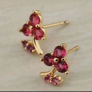Jewelry - New 18ktgf ruby cz post earrings